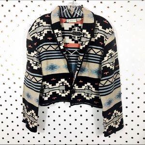 Vintage 80s Tapestry Southwest Aztec Print Jacket